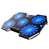 ICE COOREL Laptop Cooling Pad for Gaming, Laptop Cooler Fan 15.6-17 inch, 5 Quiet Big Cooling Fans, Adjustable The Wind Speed, Dual USB 2.0 Ports, Fast Heat Dissipation Notebook Cooling Mat