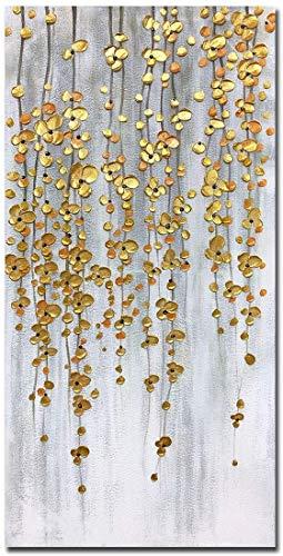 TBMX Öl auf Leinwand Gemälde, handgemalte Moderne abstrakte strukturierte Goldene Blume Kleine Blumenzweige große Wandkunst Gemälde, Dekor Kunst (150 x 75 cm)
