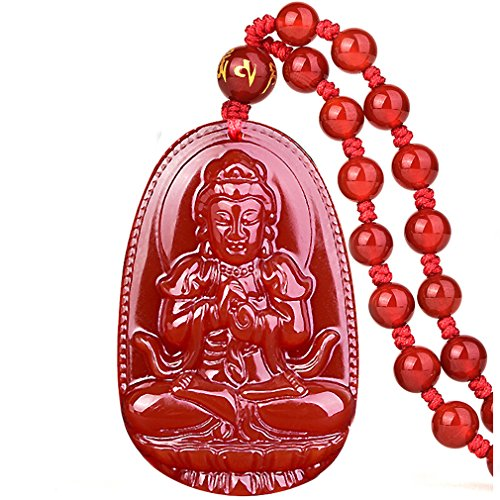 Buddha Pendant Necklace Bodhisattva Amulet Talisman Made of Agate Gemstone red green (red agate Vairocana (Wisdom))