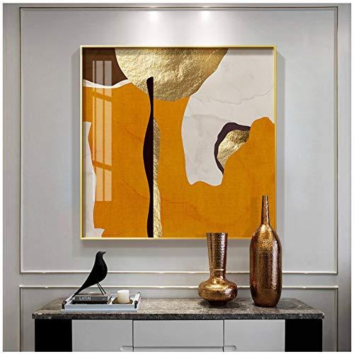 cuadros decoracion salon Arte abstracto de la hoja de oro anillos geométricos Impresión de póster Imágenes de arte de pared HD para sala de estar Oficina Decoración del hogar 23.6x23.6in (60x60cm) x1