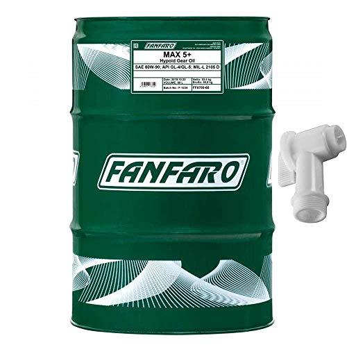 60 Liter Original FANFARO Getriebeöl MAX 5+ 80W-90 Gear Oil Öl inkl. Auslaufhahn SAE API GL-4 / GL-5 MIL-L 2105 D