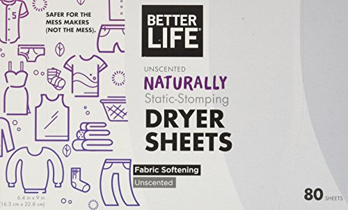 Better Life Natural Dryer Sheets, Unscented, 80 Count