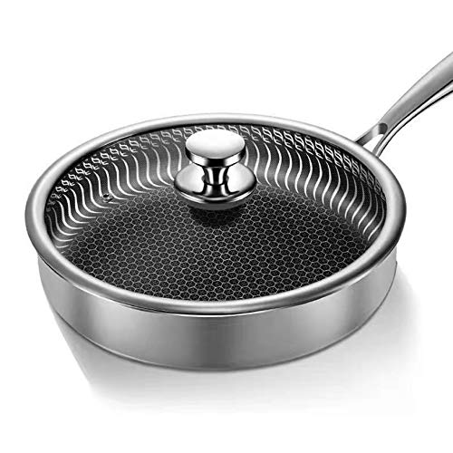 Sartén Antiadherente de Acero Inoxidable con Fondo Plano para Tortitas y Carne, con Menos Aceite, Sartén, Ollas de Wok para Cocinar, Sartén para Tortitas,26cm