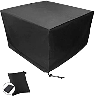 CDGroup 50in Patio Table Cover Veranda Black Waterproof Outdoor Dinner Protector Dust-Proof Table Desk Cover Furniture Covers for Garden Outdoor Indoor Furniture Table Cube Garden Furniture Covers