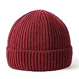 [エターナルリーフ]Eternal Leaf 帽子 ショート ニット ワッチ キャップ 無地 メンズ フリーサイズ FT14705 (04.ワイン)