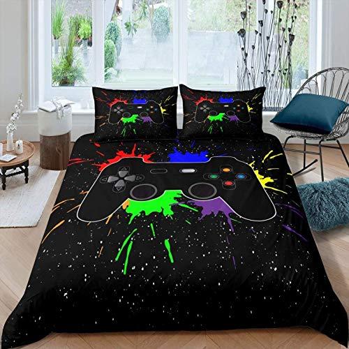Gamepad - Juego de ropa de cama para niños y adolescentes, para decoración de dormitorio moderno, juego de videojuegos, funda suave para juegos juveniles, colorida, colcha para cama doble