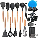 Silicone Cooking Utensil Set, KBO 36 Pcs Kitchen Utensils Spatula Set Non-stick Heat Resistant Kitchen Cookware with Wooden Handle BPA Free Non Toxic Kitchen Tool Set Gift Kitchen Gadgets Cookware Set