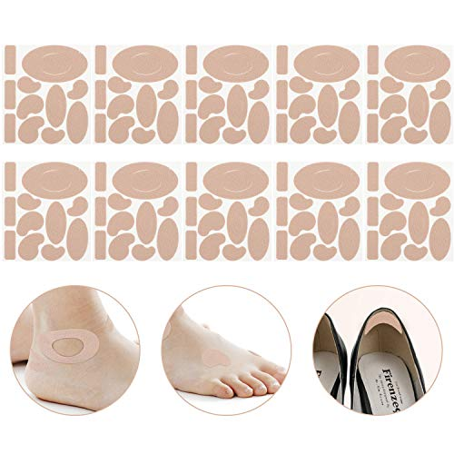 Moleskin Tape Flannel Adhesive Pads Heel Stickers Blister Prevention Pads Anti-wear Heel Pads for Feet Fabric Padding, 11 Shapes (110 Pieces)