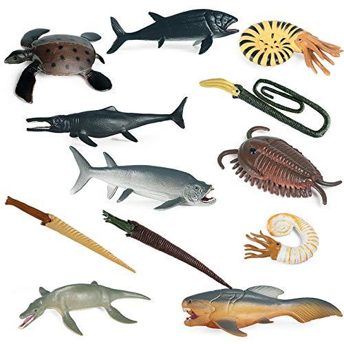 Ocean Sea Animal Model Figures Playset 12 PCS Ancient Marine Animal Models Set for Kids