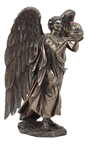 Ebros Archangel Chamuel Statue 9.5' Tall He Who Sees God Angel Chamuel Carrying Holy Flame Figurine