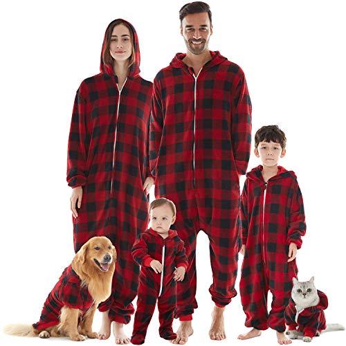 Weihnachtspyjamas Weihnachten Familie Pyjamas für Ehepaar Mädchen Junge Baby Hund Katze Halloween Kostüme Onepiece Schlafanzüge Fleece Overall Rot Schwarz Karo Dame XXL
