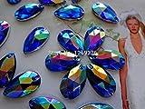 Blu a forma di goccia, strass di cristallo pietre accessori da cucire su perline strass 11x 18mm (150pezzi)