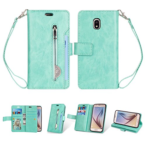 Galaxy J3 2018 Wallet Case, Folice [Magnetic Closure] 9 Card Slots, PU Leather Kickstand Wallet Cover Durable Flip Case for Samsung Galaxy J3 Star/ J3 Achieve/Express Prime 3/ Amp Prime 3(Mint Green)