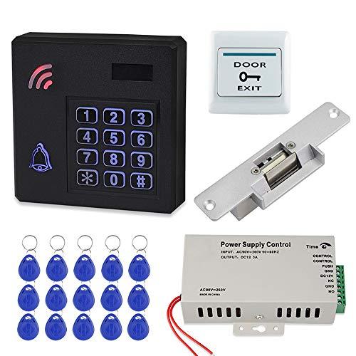 FST Sistema de Control de Acceso a Prueba de Lluvia Teclado RFID Impermeable IP68 para Exteriores + Fuente de Alimentación DC12V + Cerradura Eléctrica NC + 15 piezas Tarjetas Llave 125KHz