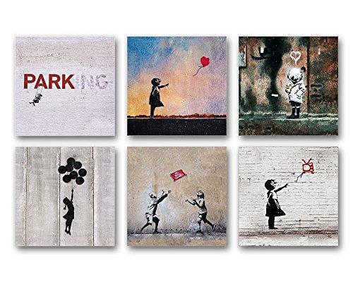 Banksy Bilder Set A, 6-teiliges Bilder-Set jedes Teil 29x29cm, Seidenmatte Optik auf Forex, Moderne schwebende Optik, UV-stabil, wasserfest, Kunstdruck für Büro, Wohnzimmer, XXL Deko Bild