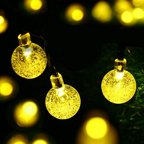 easyDecor Globe Solar String Lights 30 LED 21ft 8 Mode Bubble Crystal Ball Christmas Fairy String Lights for Outdoor Xmas Landscape Garden Patio Home Holiday Path Lawn Party Decoration (WarmWhite)