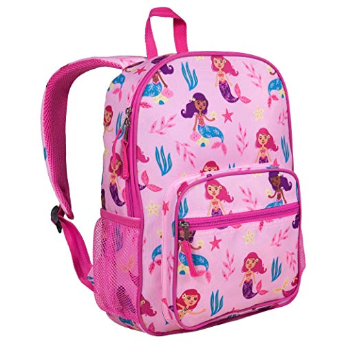 Wildkin Kids Everyday Backpack for Boys and Girls, Ideal for Size for Preschool, Kindergarten & Elementary, Kid Backpacks Measures 14.5 x 10.75 x 3.75 Inches, BPA-Free, Olive Kids (Groovy Mermaids)
