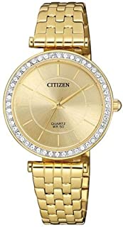 Citizen Women's Quartz Standard Stainless Steel with Gold Plating Strap Analog Watch - ER0212-50P