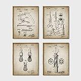 wangjingxi Modelli di Brevetto da Barbiere Poster Vintage Stampe su Tela, Pennello da Barba, Forbici Asta da Barbiere, Raso Spugnoso Decorazioni da Barbiere 30 * 40 Cm * 4