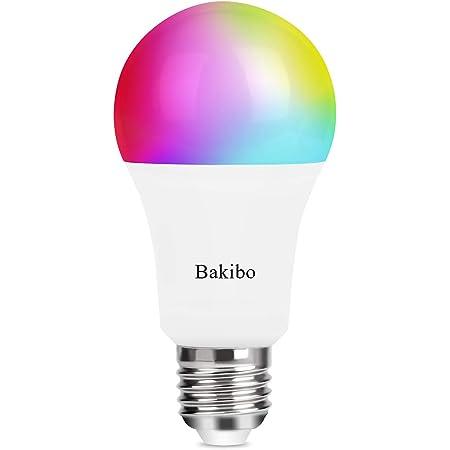 bakibo Bombilla LED Inteligente WiFi Regulable 9W 1000 Lm Lámpara, E27 Multicolor Bombilla Compatible con Alexa, Echo e Google Home, A19 90W Equivalente RGBCW Color Cambio Bombilla, 1 Pcs