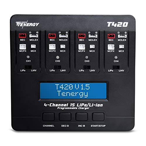 Tenergy T420 4-Channel Charger for 1S LiPo/LiHV Rechargeable Battery Packs, Built-in JST/BEC, Molex/Losi, MCX, MCPX Connectors