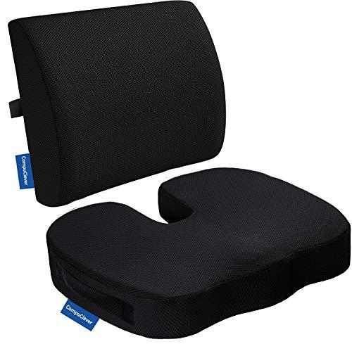 Memory Foam Cojines de asiento y soporte lumbar proporcionan alivio para el dolor de espalda inferior Ciatica Tailbone Coccyx Almohada de asiento ortopedica para silla de oficina Coche Sofa