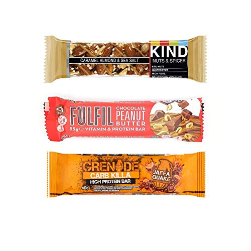 KIT Protein Bar Kind Caramel 40g, Fulfil Chocolate Peanut Butter 55g, Grenade Jaffa Orange 60g, a kit to get You Along Boring and challenging Days