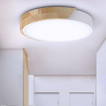 Plafonnier LED, TaFiCo Luminaire Plafonnier 24W Blanc Froid 6000K en Bois Ø30*5CM, Lampe de Plafond 2400Lumen Ronde Moderne pour Bureau Salon Chambre Cuisine Balcon Couloir