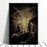 Leinwanddruck,Philadelphia Schwarz Golden Custom Welt