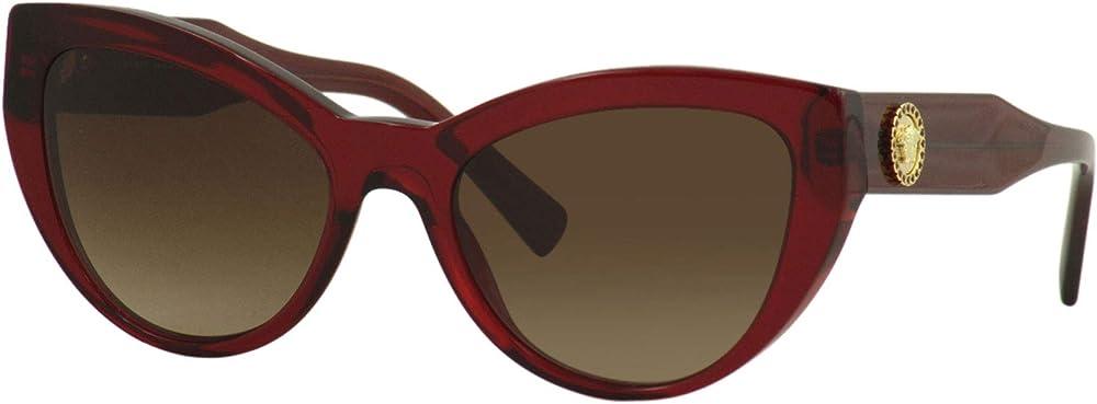 Versace, occhiali da donna per il sole a forma di occhi di gatto, in acetato, lenti color marrone 0VE4381B