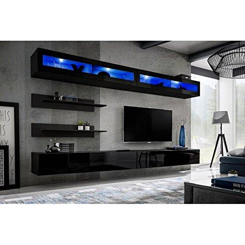 Paris Prix - Meuble TV Mural Design Fly VII 320cm Noir