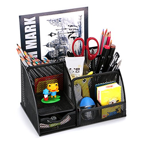 BTSKY - Porta oggetti da scrivania a 6scomparti multi-funzionale, salvaspazio per ufficio, contenitore per cancelleria con cassettino portaoggetti, struttura a rete Black