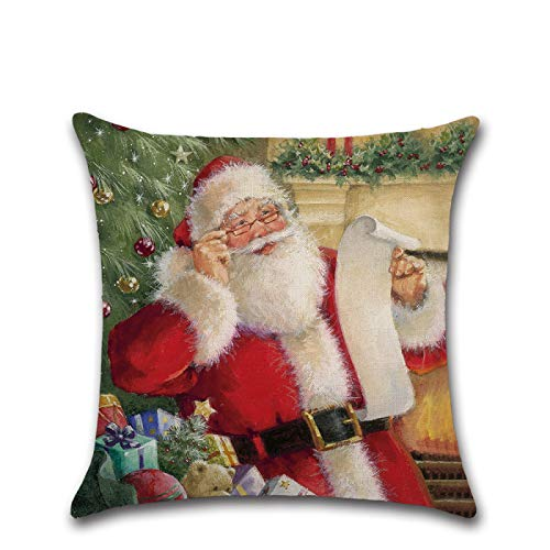 Cartoon Christmas Pillow Cover Cushion Cover Santa Cute Dog Print Home Pillow