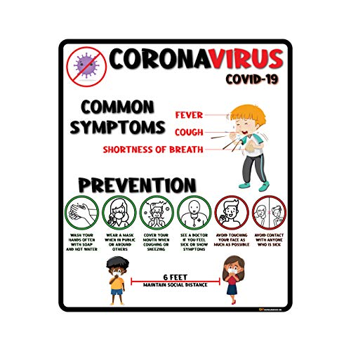 "'Kids Symptoms and Prevention' COVID-19 (CORONAVIRUS) Durable Vinyl Banner- 36x24"" Sign by Graphical Warehouse- Visual Communication Tool"