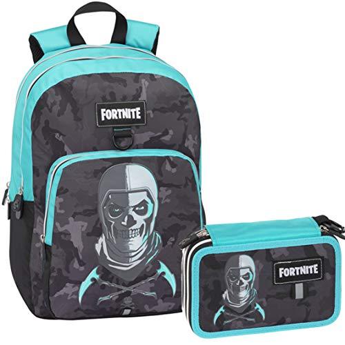 Schoolpack - Zaino Organizzato 3 Cerniere Compatibile Con Fortnite + Astuccio 3 Zip Completo di Cancelleria - Collezione Scuola 2019-20