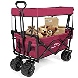 <span class='highlight'><span class='highlight'>CASART</span></span> Foldable Wagon Trolley, Collapsible Outdoor Cart with Adjustable Telescoping Bar, 4 Big Wheels, Removable Shade Canvas, Utility Garden Trolley for Shopping Groceries, Camping, Sports(Red)