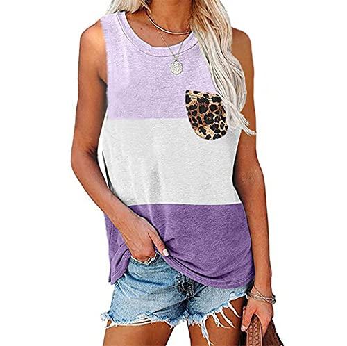 Primavera y Verano, Chaleco de Bolsillo con Estampado de Leopardo a Juego de Color Informal para Mujer, Camiseta Holgada con Cuello Redondo, Camiseta de Manga Corta para Mujer