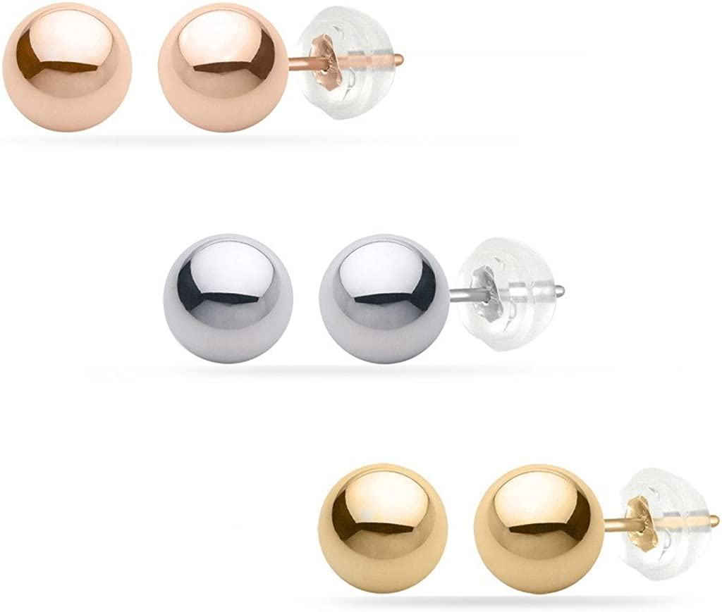 BRIGHT WHITE JEWELRY's High Polished Yellow Gold Ball Stud 8MM 14k with Silicone Protected Gold Pushbacks