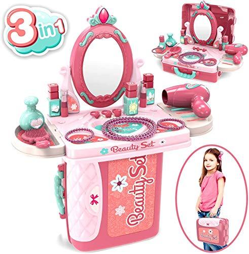 Dreamon 3 In 1 Rollenspiel Spielzeug Schminkset Aktentasche kinderfön Set mit Vielen Zubehör für...