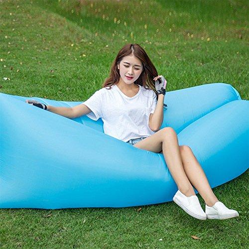 OOFAY Impermeable Y Durable Plegable Sofá De Aire Interior Y Al Aire Libre Hangout Silla De Aire Sofá Hamaca Perezoso,Blue