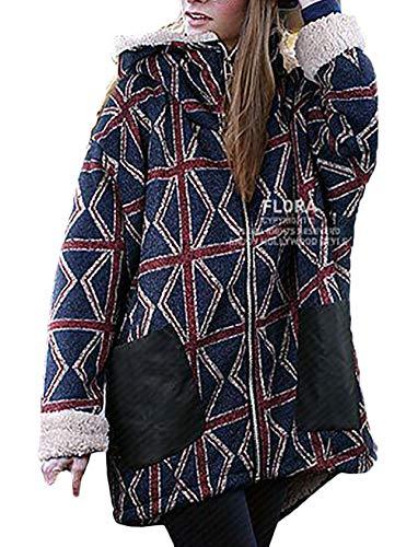 Mantel met capuchon dames lange vintage mode geruit jas coat jongens chic met ritssluiting lange mouwen winter casual locker verdikt warme outwear capuchon trui