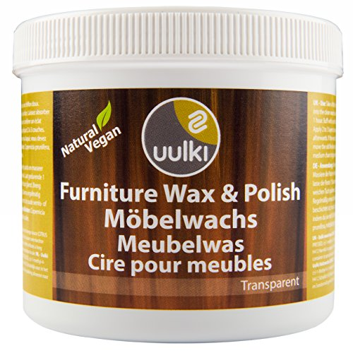 Uulki Möbelpolitur Möbelwachs Natürlich & Vegan (500 ml) - Holzwachs Pflege für Möbel Politur für innen - Gesundheitsschonende Holzpflege (farblos)