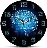 Reloj De Pared Código Binario De 12 Pulgadas Inteligencia Artística Reloj De Pared Del Cerebro Movimiento Silencioso Compañía De La Pared De La Oficina Placa De Circuito Cerebral Arte Para Frikis
