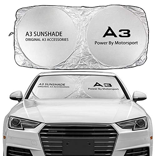 XDRE Parasol Coche Parabrisas de Coches Cubierta de Sombra Solar Compatible con Audi A3 8P S3 8V 8L Sportback E-Tron Limusine Accessories Anti UV Reflector Visor Protector Cortina de Malla para Coche
