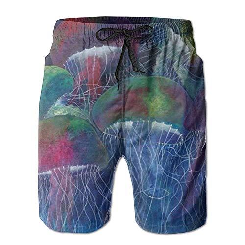 GOSMAO Pinturas abstractas Originales para Hombre: Pantalones Cortos de Playa de Danza de Medusas