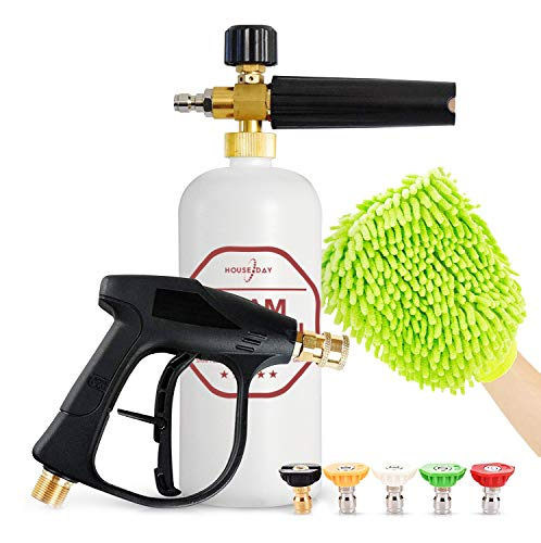 """HOUSE DAY Foam Cannon Gun Kit Pressure Washer Foam Cannon Snow Foam Lance 1/4"""" Quick Outlet Connector Foam Blaster Cars Wash Sprayer M22-14 Interface for Car Home Cleaning"""