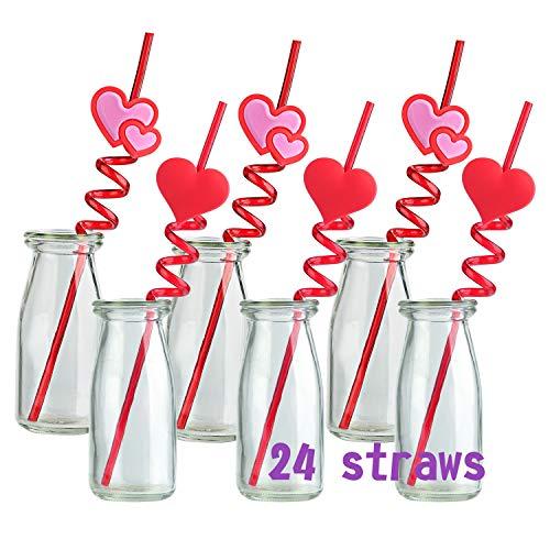 TUPARKA 24 PCS Valentine Straws