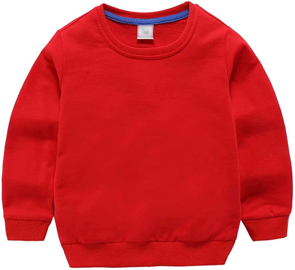AIWUHE Baby Boy Girls Solid Color Sweater Childrens Long-Sleeved Shirt Sweatshirt Tracksuit Long Sleeve Pullovers Tops