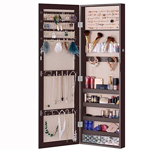 LUXFURNI Schmuckschrank mit spiegel, Wandmontage/Tür hängend, abschließbar, Organizer mit Schubladen, braun