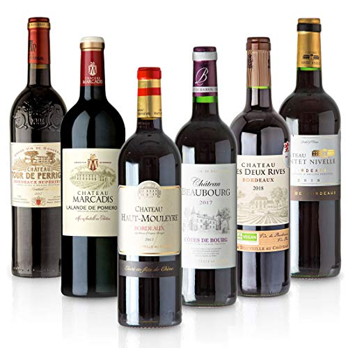 Feinste Weine - Weinselektion 6er Bordeaux Probierpaket (6 * 0,75l) - Frankreich-Probierset mit trockenen Rotweinen, Paket mit:6 Flaschen